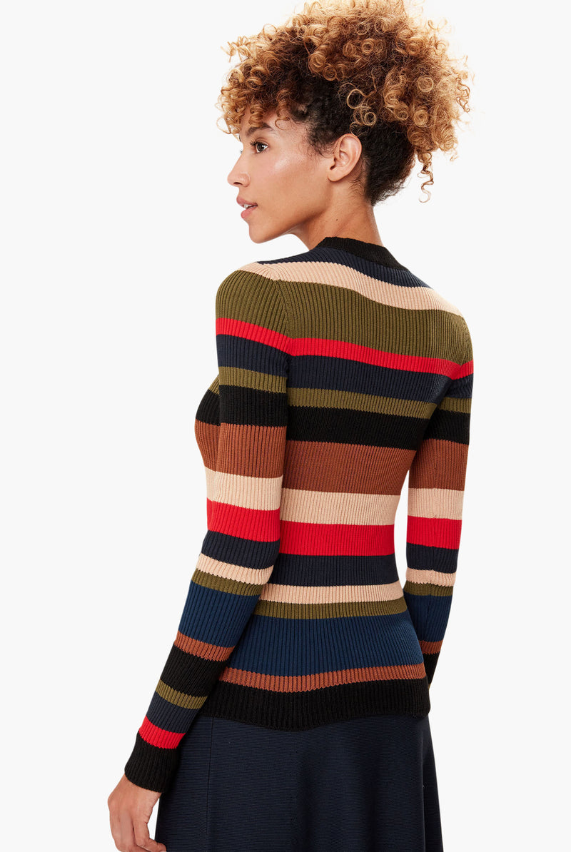 Pull En Maille Rayée Multicolore