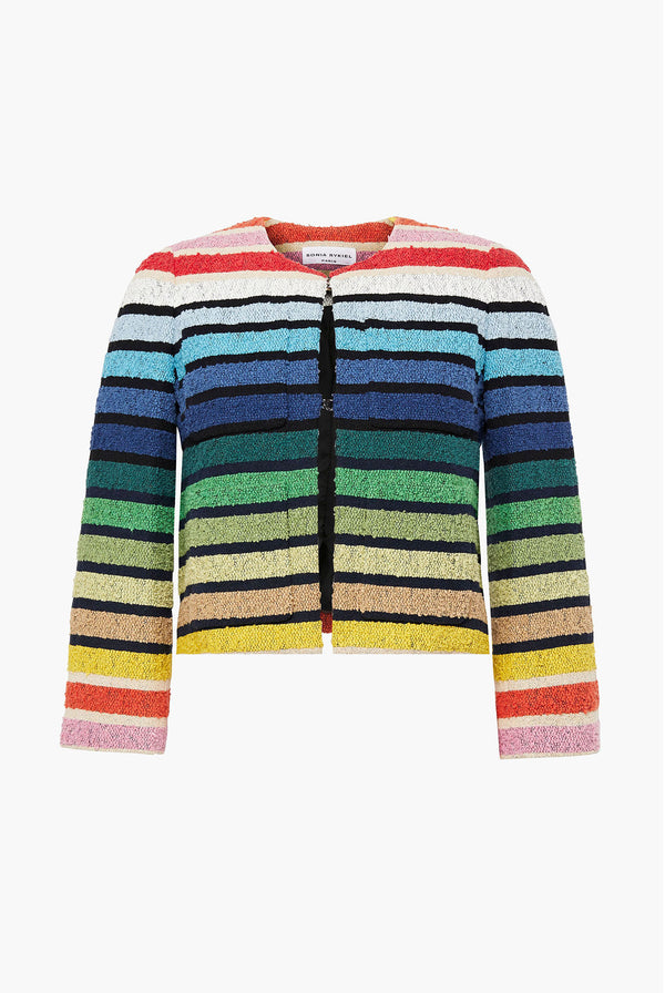 Multicoloured Stripe Short Jacket