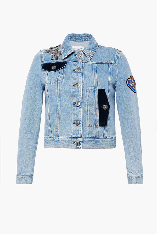 Veste en denim bleu.