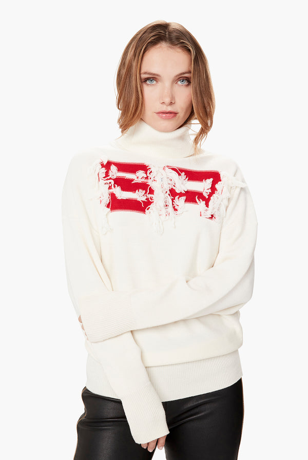 SR White Wool Turtleneck