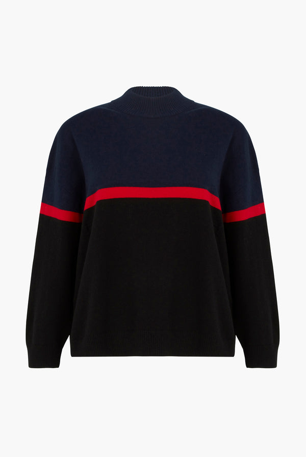 Blue And Red Colorblock Sweater