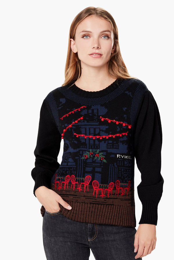 Wool Sweater with Saint Germain Print