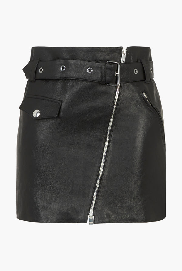 Zipped Leather Skirt