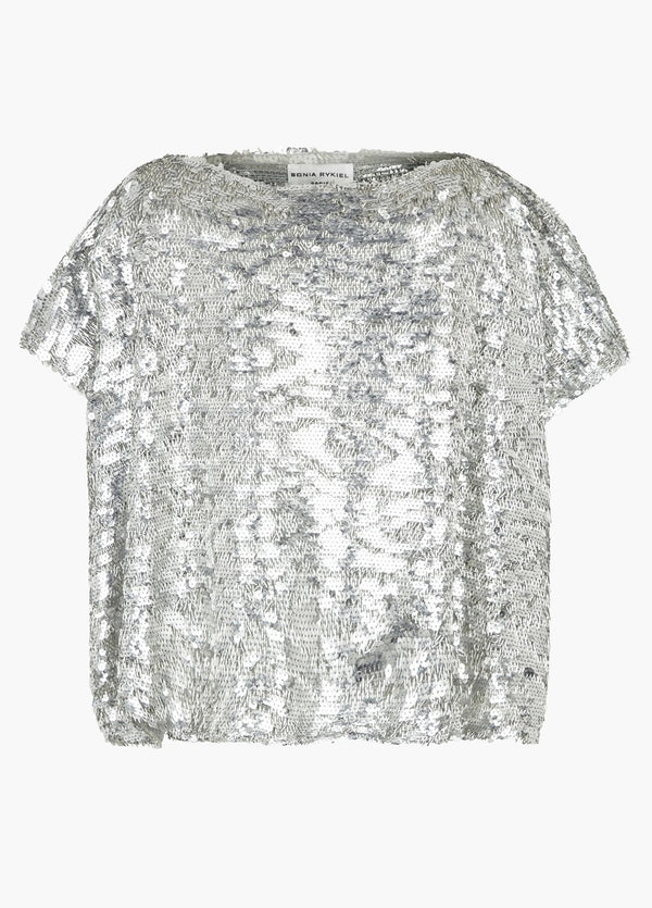Top A Sequins Argentés