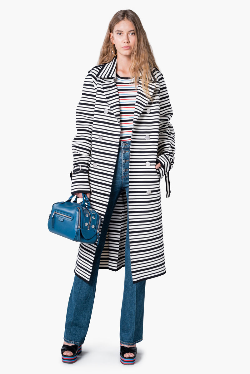 Striped trench coat in Milano knit