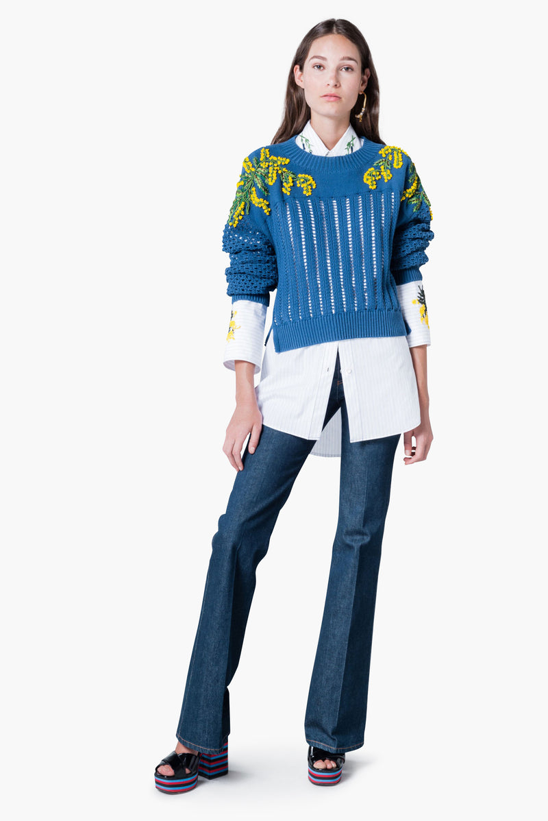 """Mimosa"" Embroidered Buttoned Knit Sweater"