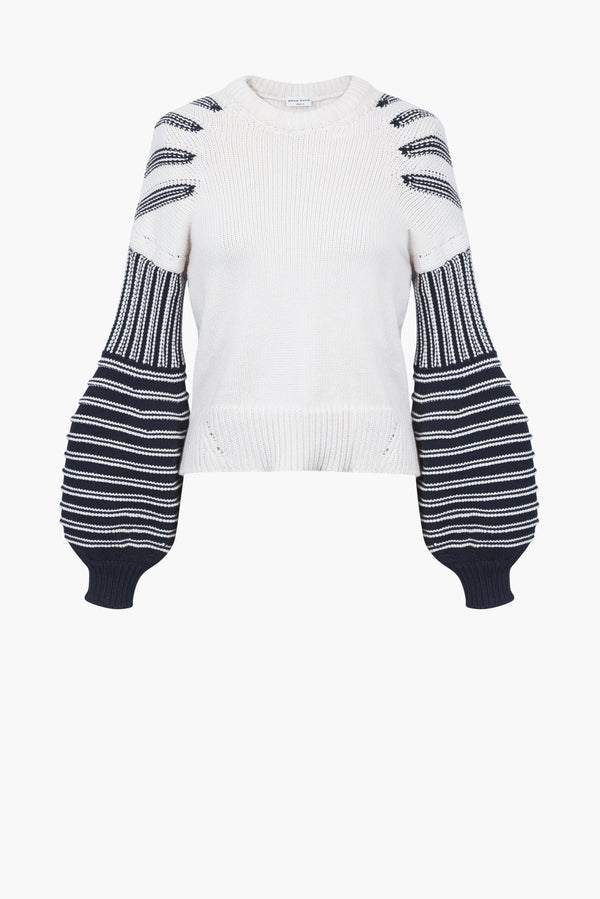 Cotton Mixed Balloon Sleeve Sweater