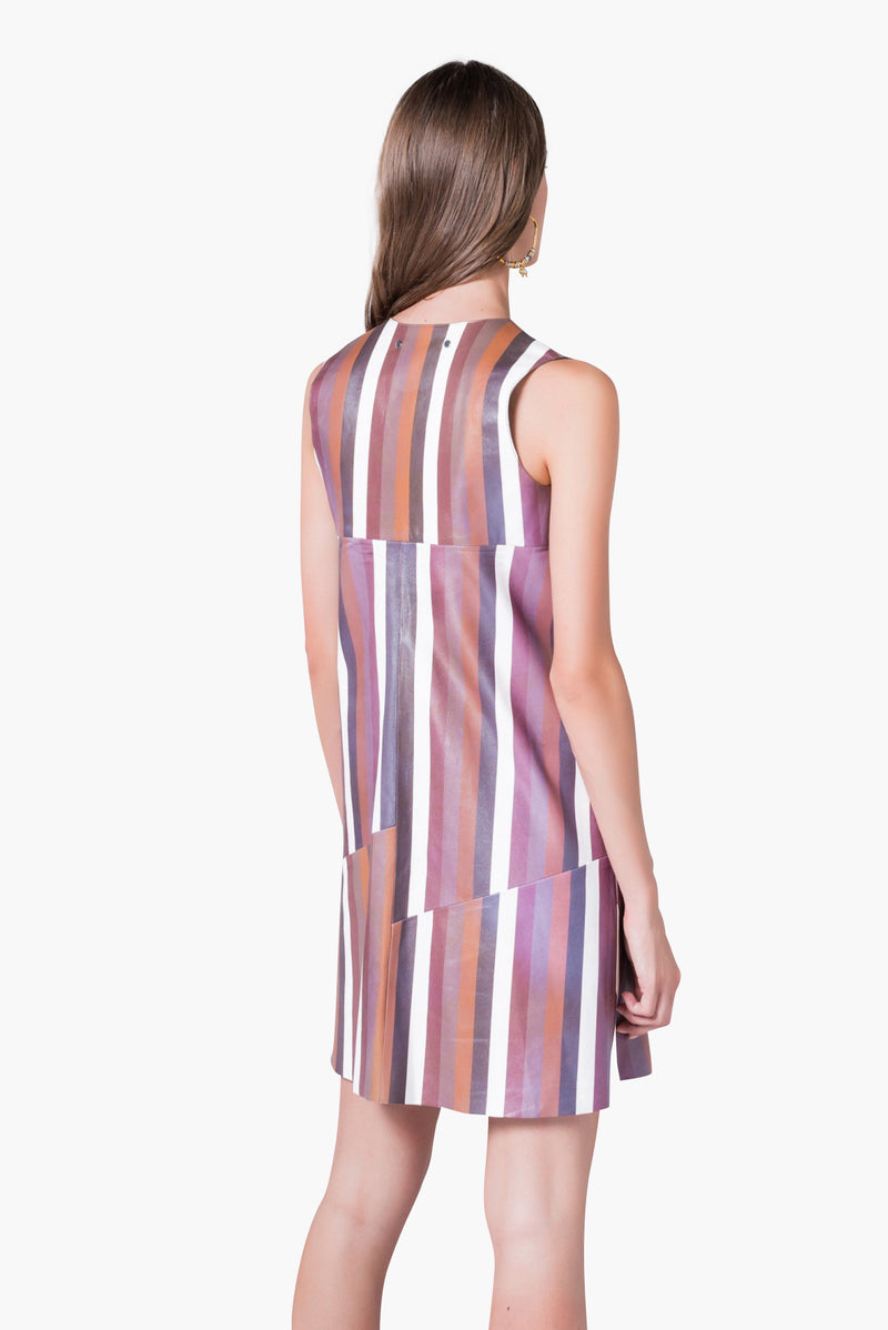 Striped leather dress