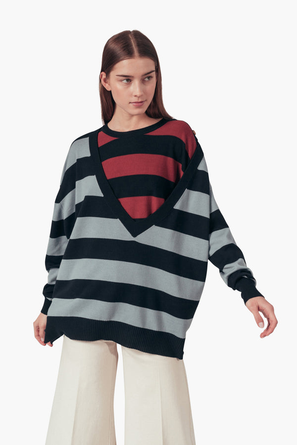 Striped Trompe-L'Oeil Sweater