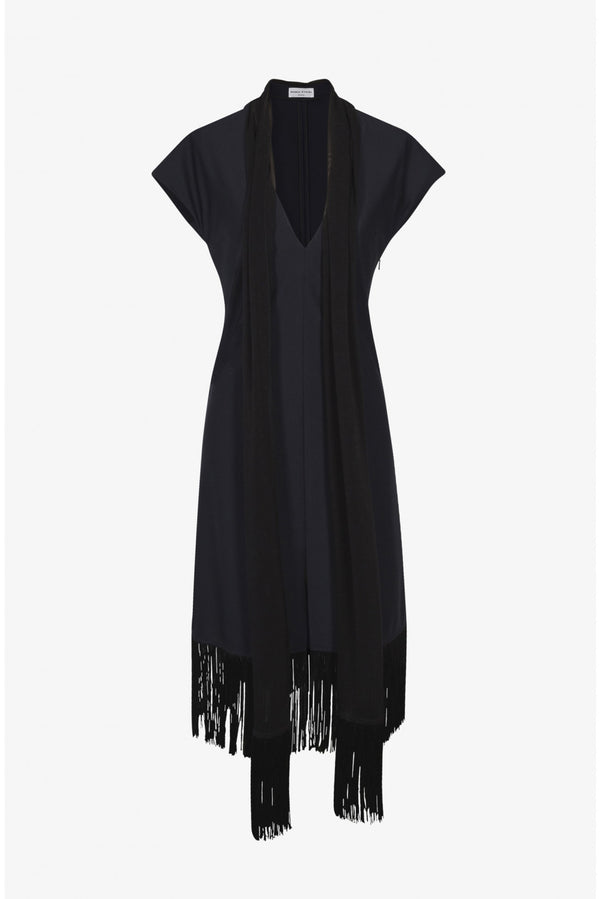 FRINGED DRESS WITH SCARF