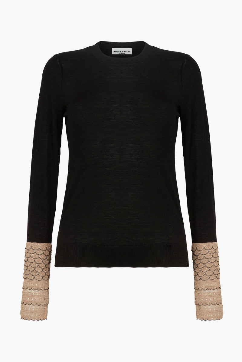 Black And Gold Fine Knit Sweater