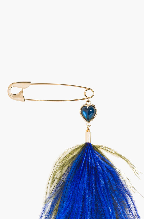 Royal Blue Feather Brooch