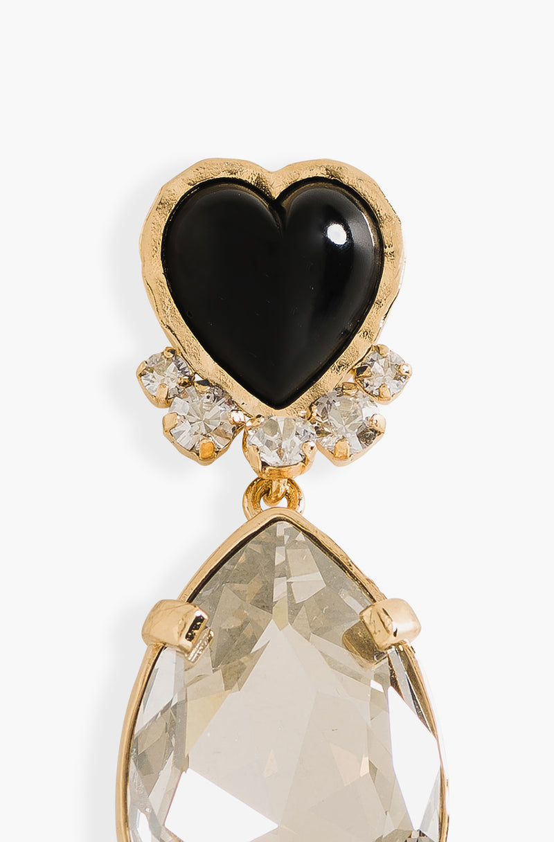 Black Heart And Rhinestones Pins