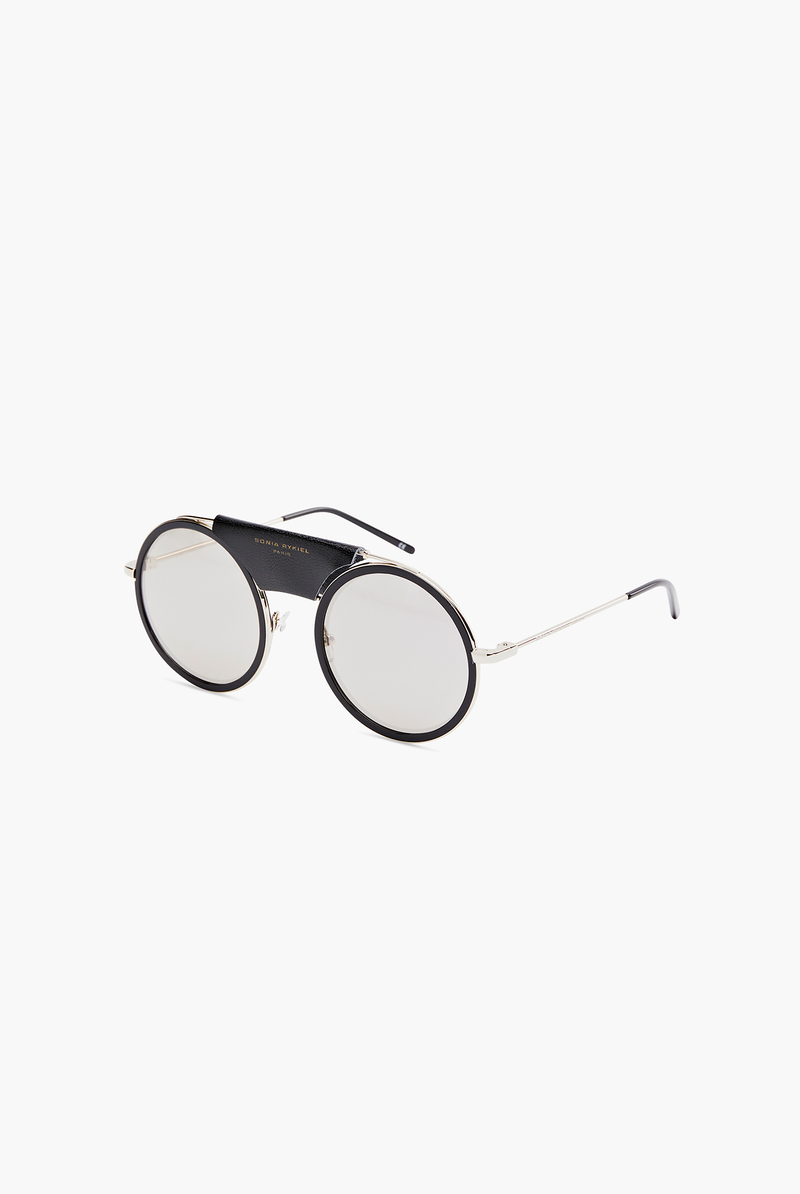 Round sunglasses with leather detail