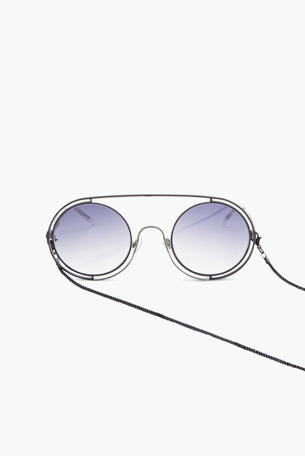 Round Oversize Sunglasses with Chain