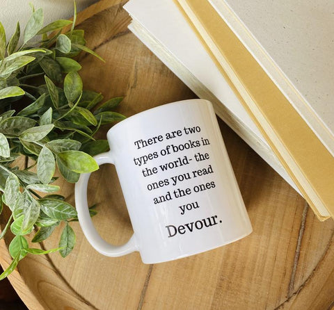 White Mug with Bookish phrase