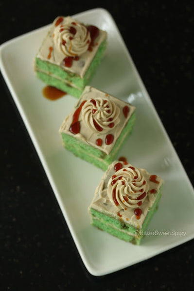 three pandan cakes with gula melaka swiss meringue buttercream