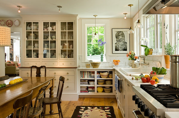 decorated kitchen with focal wall art