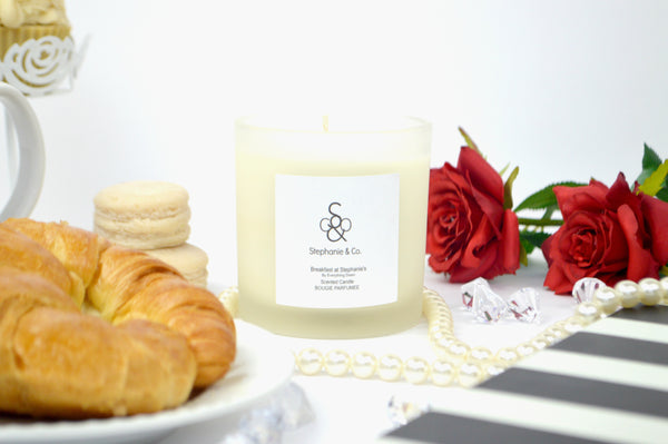 Breakfast At Stephanies Scented Candle With Croissants and Roses by Everything Dawn Bakery Candles