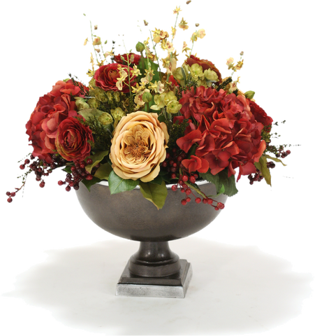 fall flower arrangement in urn