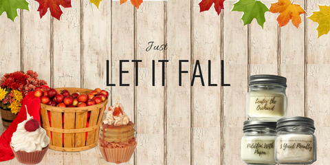 fall product banner with apple basket cupcake candles and jar candles