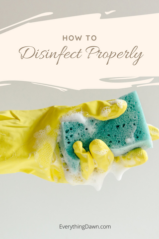 How To Disinfect Properly Pin With Yellow Glove and Soapy Sponge