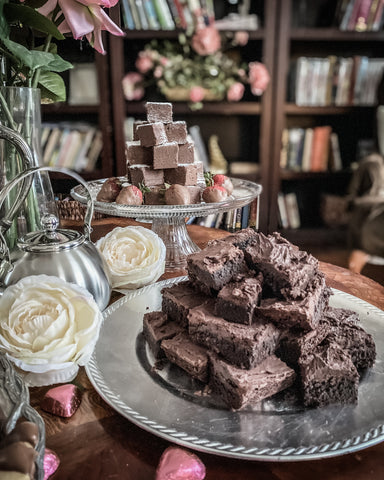 brownies on silver tray