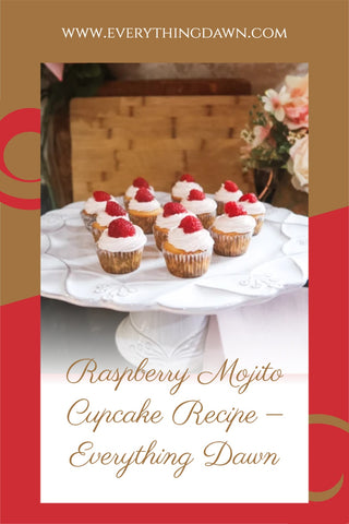 Pin - Raspberry Mojito Cupcake Recipe with raspberry topped cupcakes on white scalloped cake stand