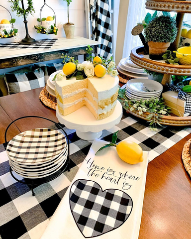 black and white buffalo check tablescape with lemon faux cake