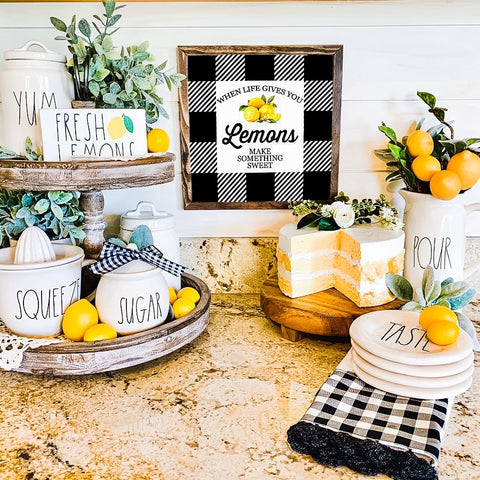 buffalo check decor with faux lemon cake on counter
