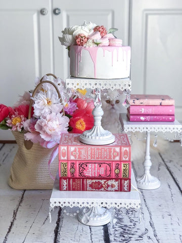faux cake with pink books