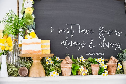 Lemon cake with greenery and terracotta pots in front of chalk board