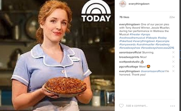 "Jessie Mueller of the Broadway hit, ""Waitress the Musical"" holding a fake pecan pie designed by Everything Dawn Bakery Candle Treats"