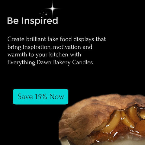 Be Inspired message and fake apple pie with 15% off