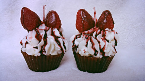 Chocolate Covered Strawberry Cupcake Candles