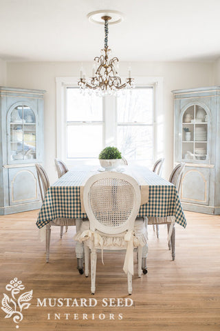 dining table setting with diy seat cushions