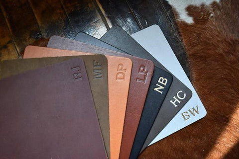 leather monogrammed mousepads