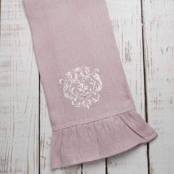 Crown Linen Designs Dusty Pink Ruffle Damask Linen Towel