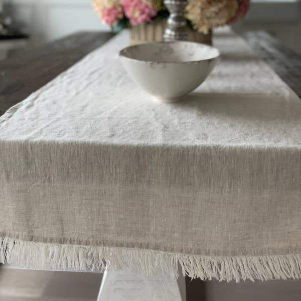 Crown Linen Designs Tuscan Linen Runner with Fringe
