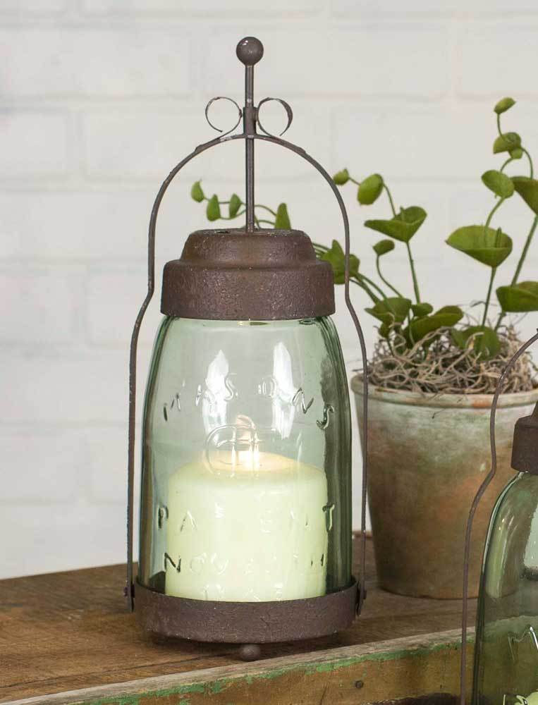 CTW Home Collection candle holder Butler Quart Mason Jar Pillar Candle Lantern