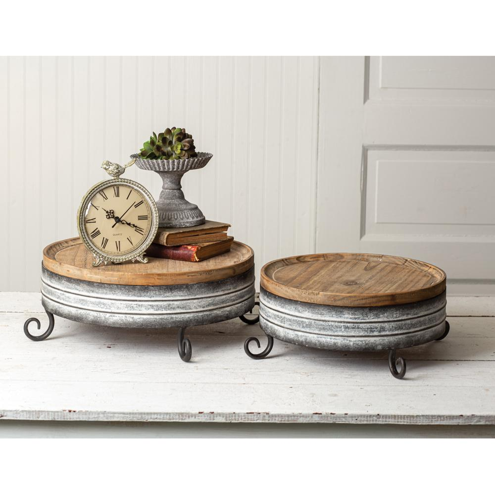 CTW Home Collection Riser Set of Two Wood and Metal Risers