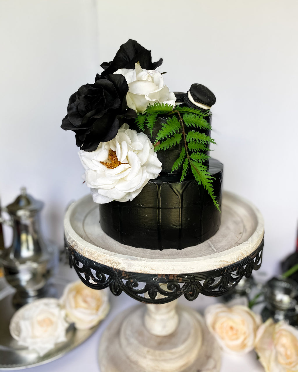 Everything Dawn Fake Cake Black and White Two Tiered Faux Cake