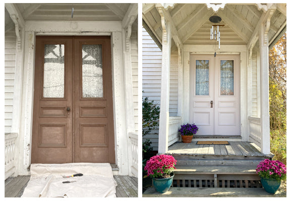 Before and after of front door makeover. Dull brown doors on left and fresh, light gray doors on right with flowers on the steps and to the left of the door.