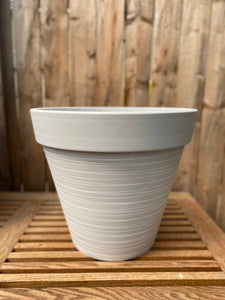 "14"" White Carved Finish Wide Rim Planter"