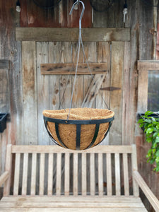"12"" Oxford Hanging Basket w/Coco Liner"
