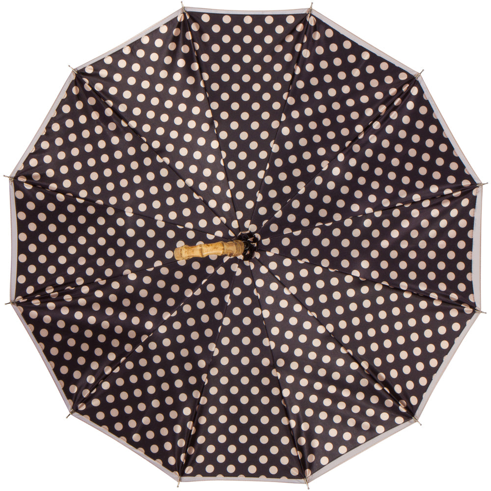 CHIC Mocha Polka Dot with curved bamboo handle - COMPACT