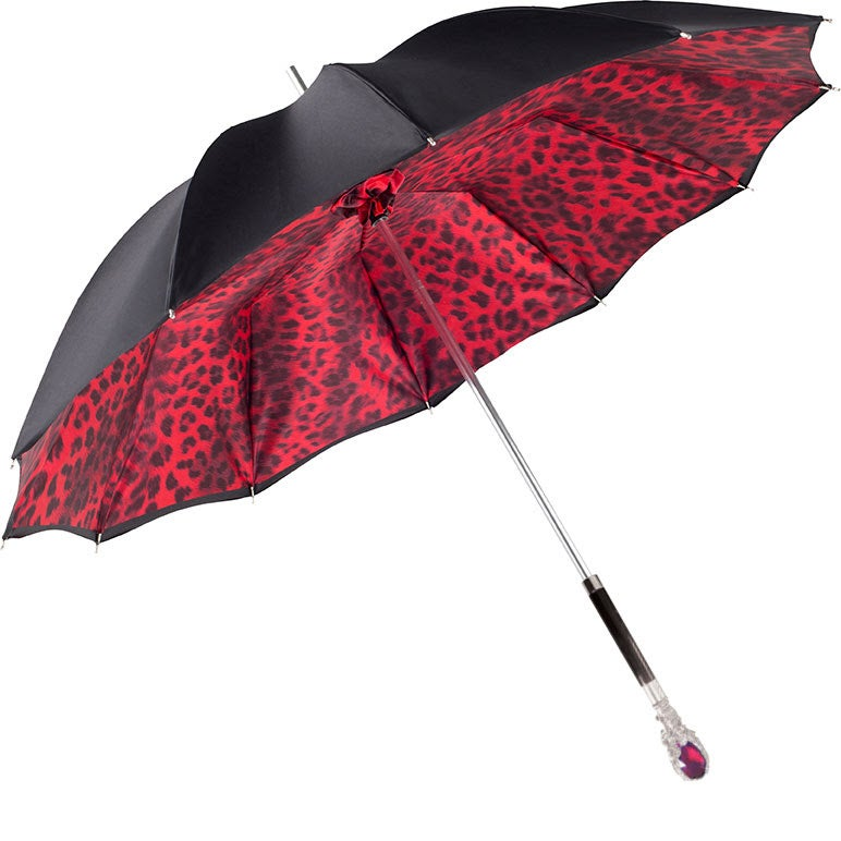 CHIC Black exterior/red leopard interior with jeweled accent handle - COMPACT