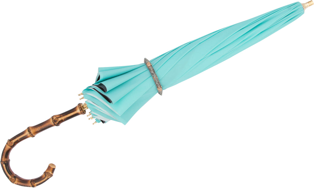 LUXE Teal Peacock with curved bamboo handle