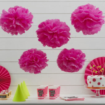 Set 5pz PomPom di Carta - Fucsia Intenso