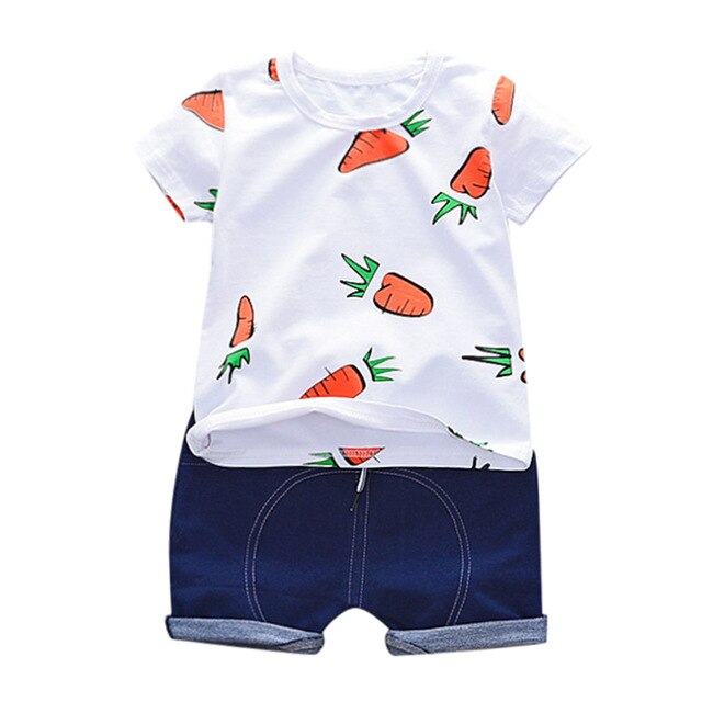 Baby Carrots T-shirt Solid Short Casual Outfit Set - SnazzyBabe